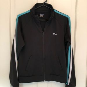 Fila black zip up athletic top with stripes